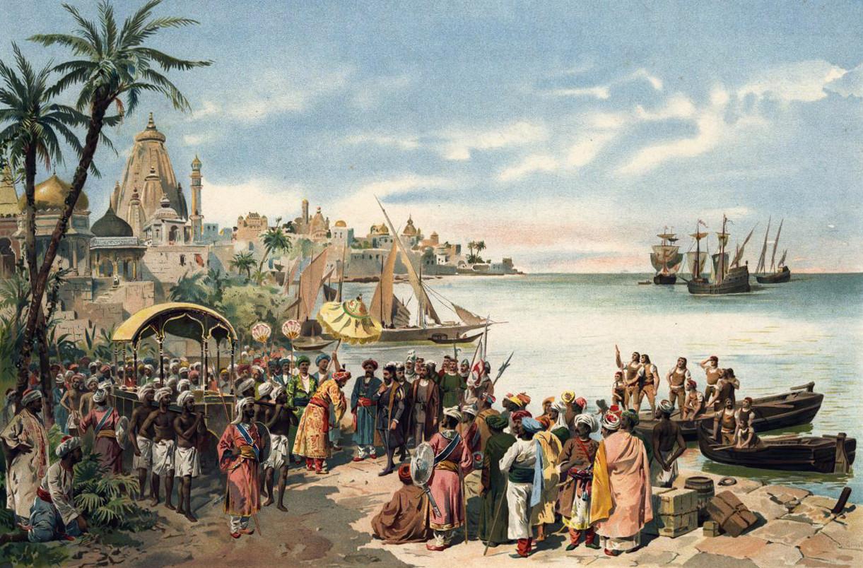 Recibimiento a Vasco da Gama en Calcuta en el siglo XV. El mar con navíos portugueses al fondo y una comitiva de Calcuta recibiendo a navegantes portugueses.